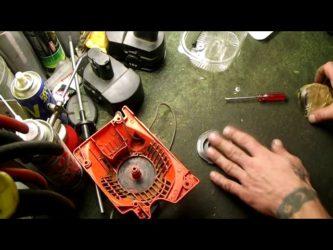 как заправить пружину в стартер триммера